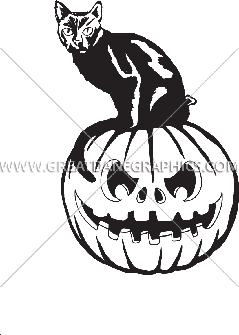 Small pumpkin clipart black and white clip art stock Black Cat On Pumpkin | Production Ready Artwork for T-Shirt Printing clip art stock