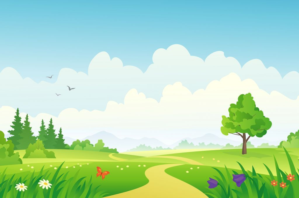 Landscape clipart vector black and white download Cloudy day on green Field.......................... | Children´s ... vector black and white download