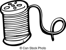 Clip Art Vector of needle and thread cartoon csp14878861 - Search ... black and white