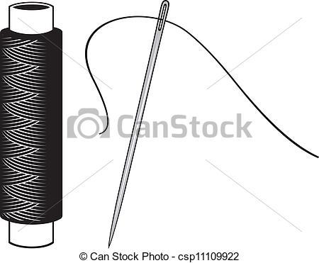 Vektor Illustration von Nadel, Faden - Faden, und, Nadel ... clip art transparent stock