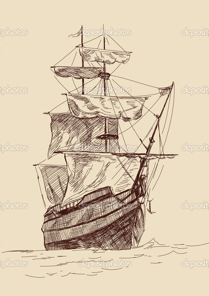 Fair sailing ship clipart png free download old time sailing ship clip art | Vintage old Ships illustration ... png free download