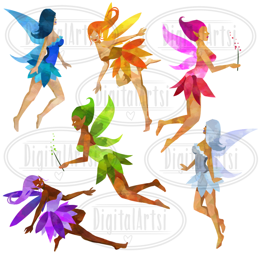 Fairies clipart images vector library stock Watercolor Fairies Clipart vector library stock