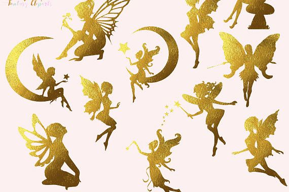 Fairies clipart images black and white Gold Foil Fairies Clipart black and white