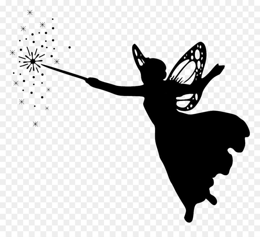 Fairy godmother black and white clipart graphic freeuse library Black And White Flower clipart - Silhouette, Fairy, Illustration ... graphic freeuse library