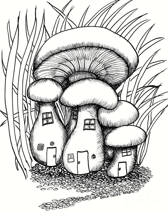 Fairy house parts clipart black and white picture download Mushroom Fairy Houses And Grass | Coloring with My InnerChild in ... picture download