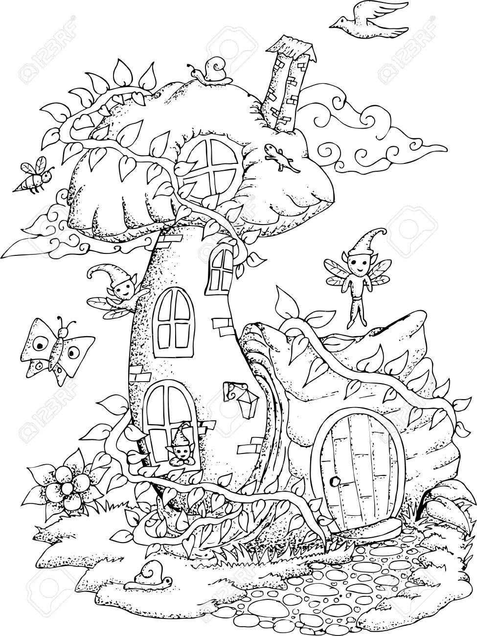 Fairy house parts clipart black and white picture free Stock Vector | houses and castles | Fairy coloring pages, House ... picture free