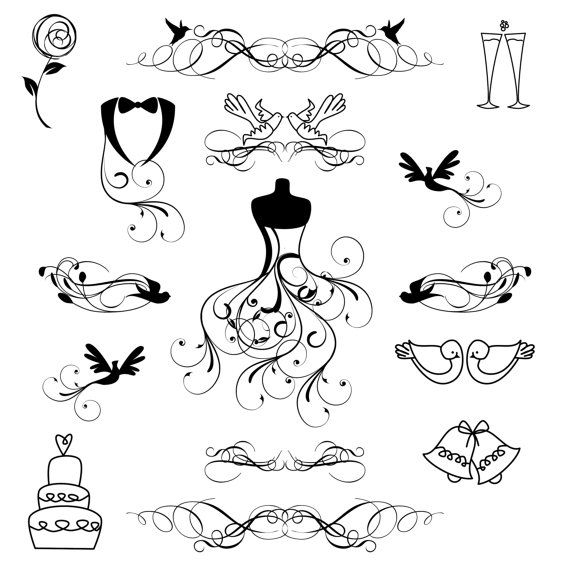 Fairytale wedding clipart clip black and white Free Romantic Wedding Cliparts, Download Free Clip Art, Free Clip ... clip black and white