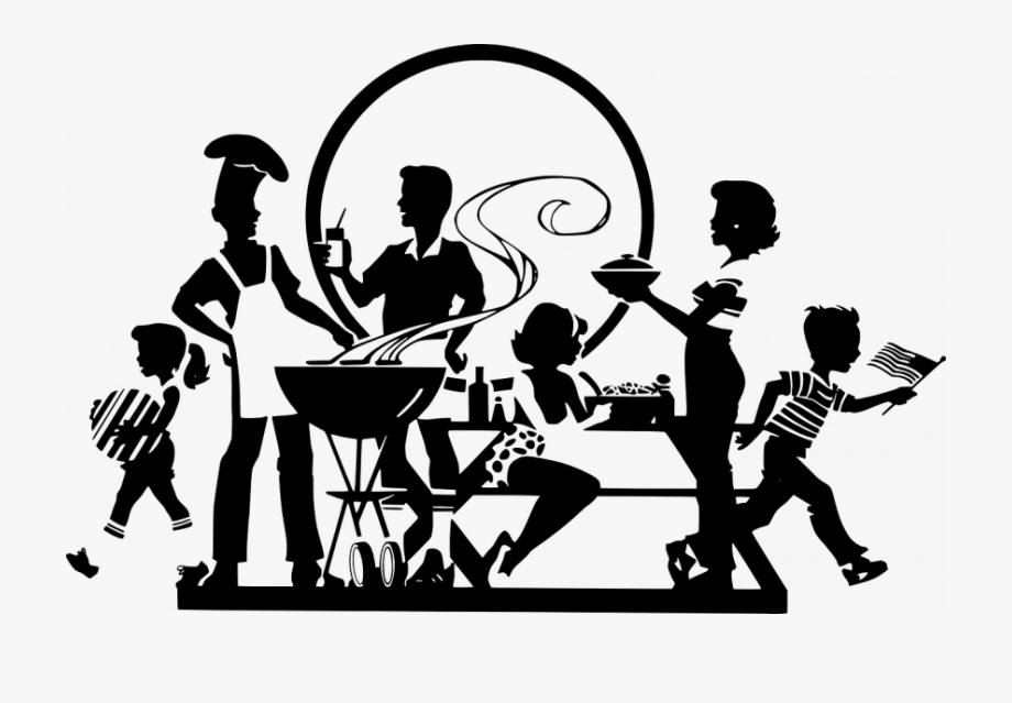 Faith and family night clipart black and white jpg black and white Faith, Family Or Friends - Black And White Family Picnic Clipart ... jpg black and white