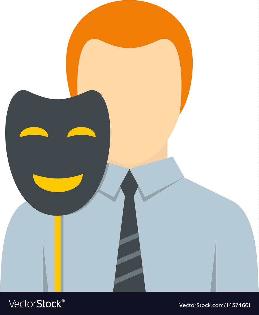 Fake smile clipart freeuse Businessman holding fake mask smile icon isolated freeuse