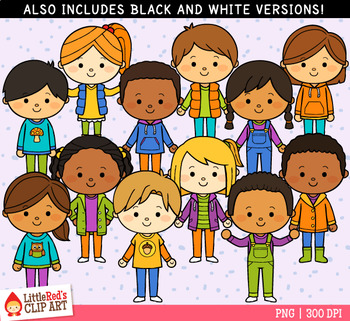 Fall activities for kids clipart clip black and white stock Dressed for Fall Kids Clip Art clip black and white stock