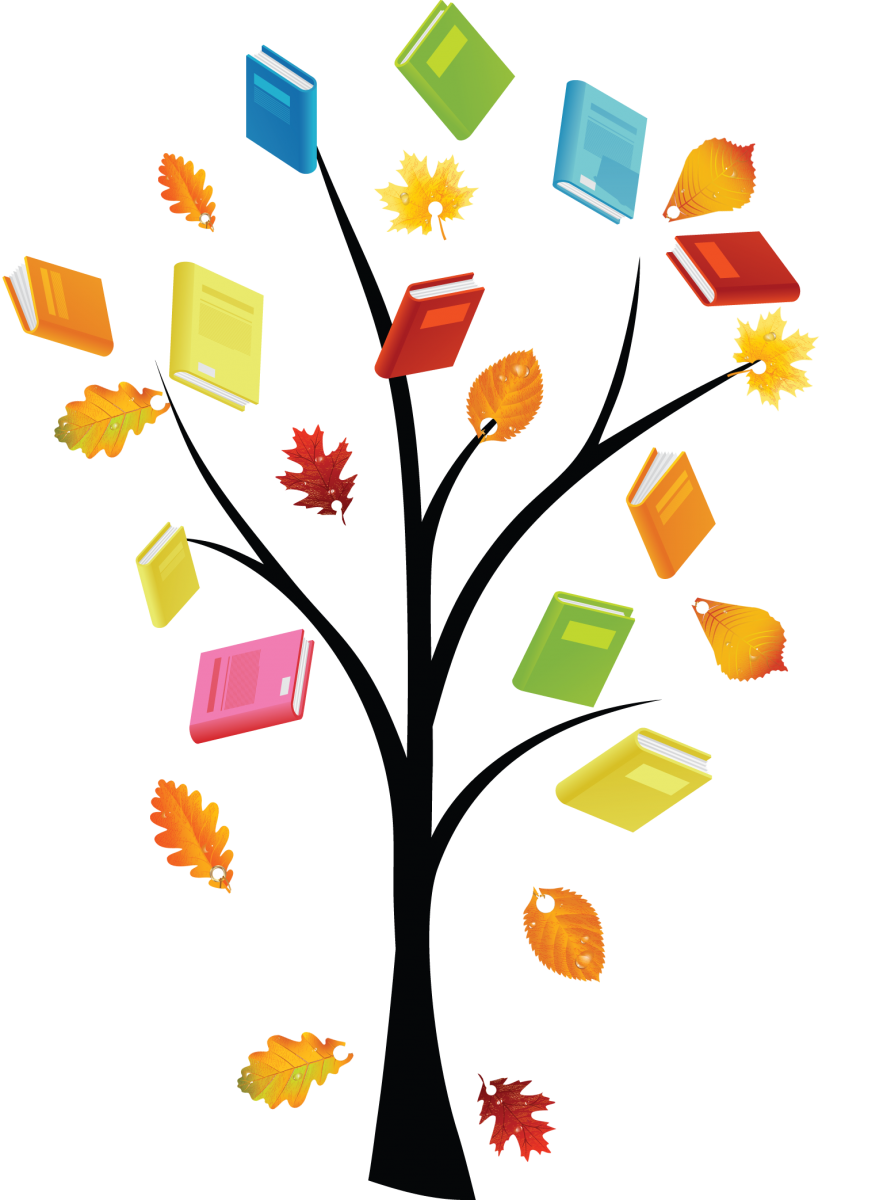 Fall into a good book clipart