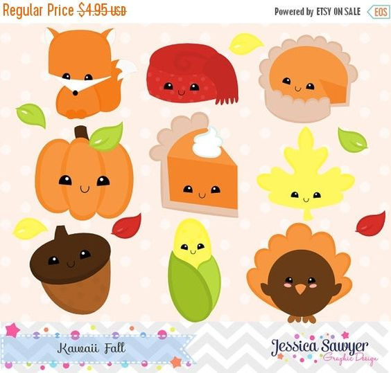 Fall clipart printables banner download INSTANT DOWNLOAD, kawaii fall clipart and vectors for personal and ... banner download