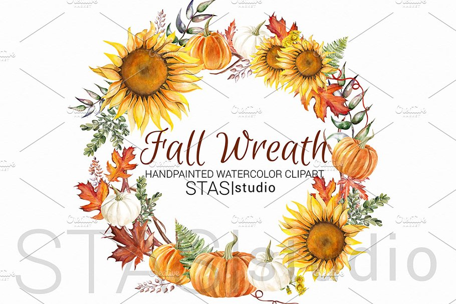 Fall clipart wreath picture transparent download Sunflower Wreath Autumn Clipart picture transparent download