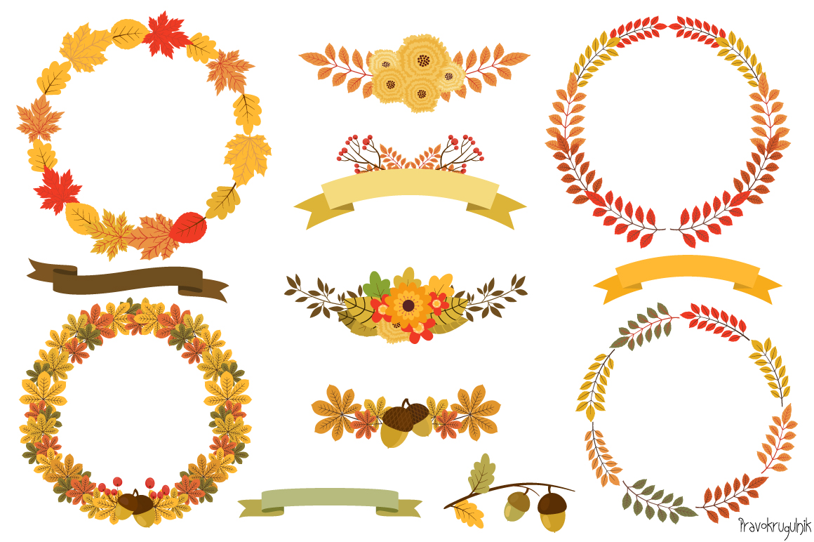 Fall clipart wreath png royalty free download Autumn Wreaths Clipart, Fall Wreath Set png royalty free download