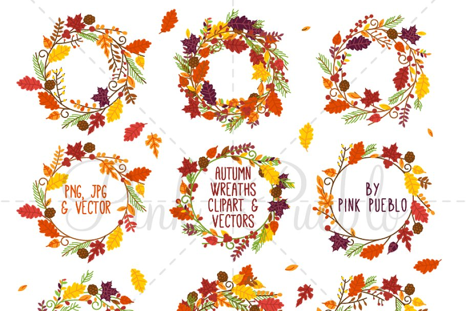 Fall clipart wreath graphic freeuse Autumn Wreath Clipart and Vectors graphic freeuse