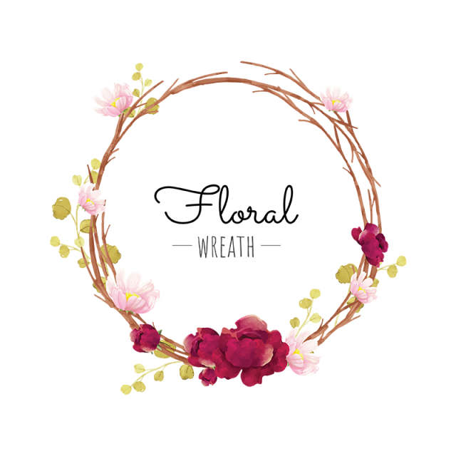 Flower wreath clipart. Red png and vector