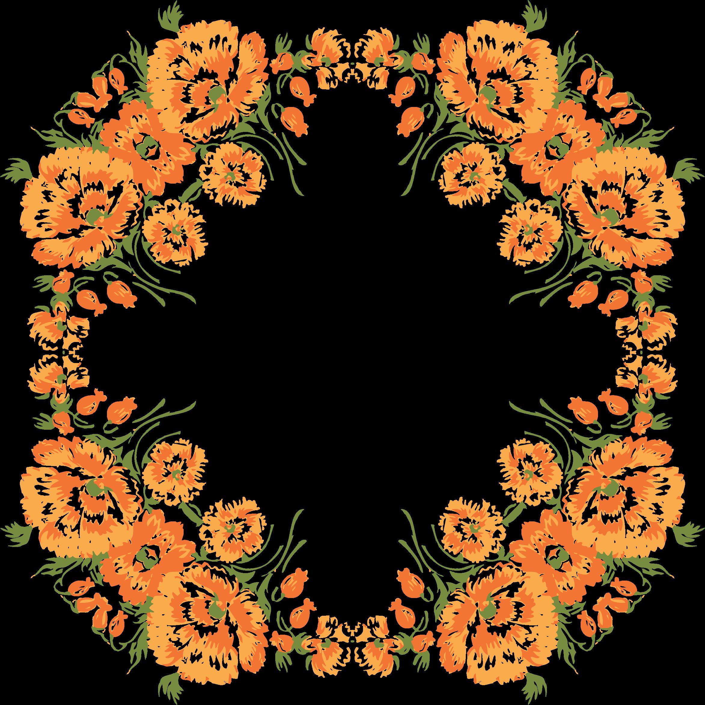 Fall flower wreath clipart clip transparent download Clipart - Floral Wreath Frame 3 clip transparent download