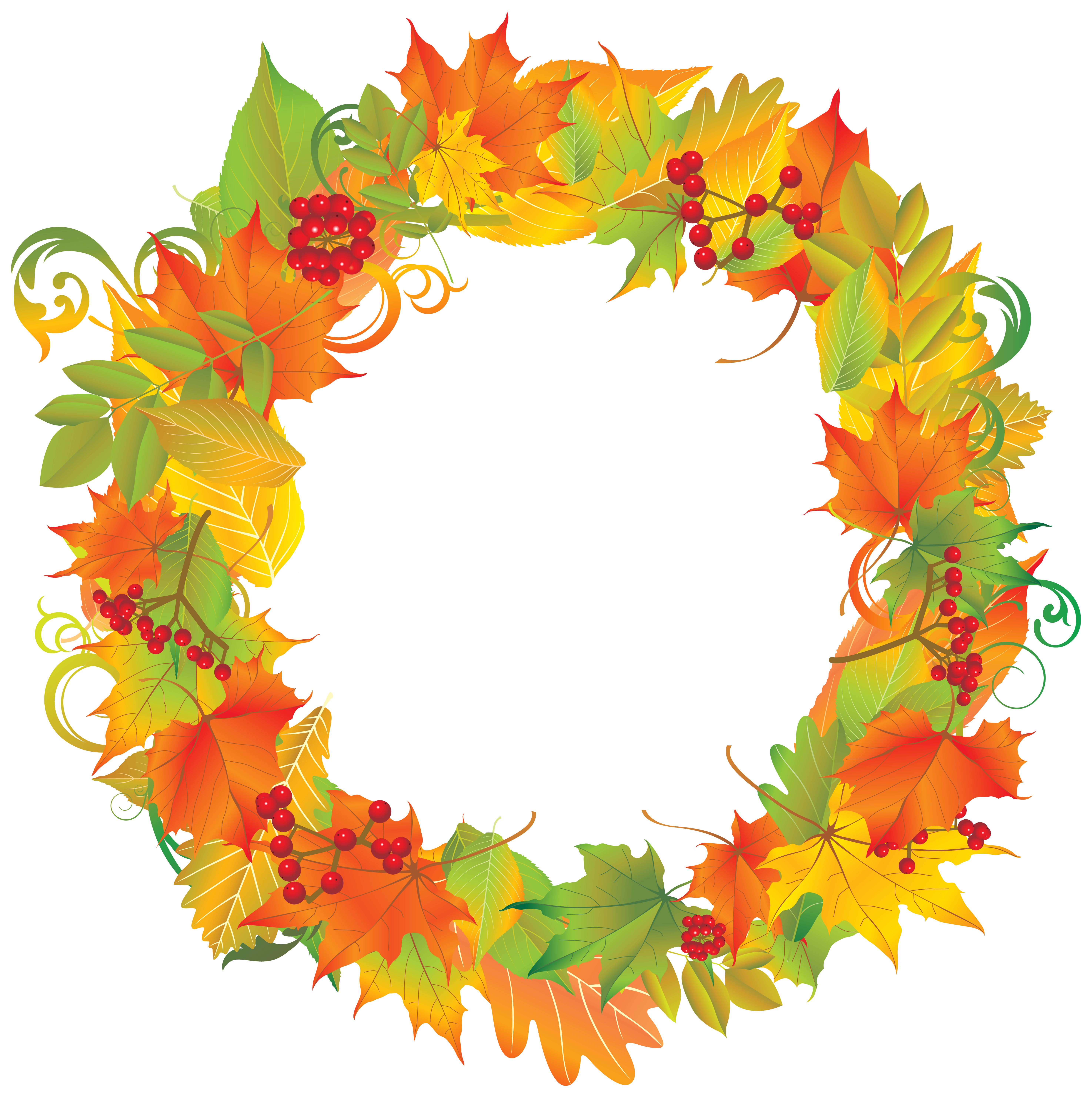 Fall flower wreath clipart png freeuse stock Autumn Wreath PNG Clipart Image | Gallery Yopriceville - High ... png freeuse stock