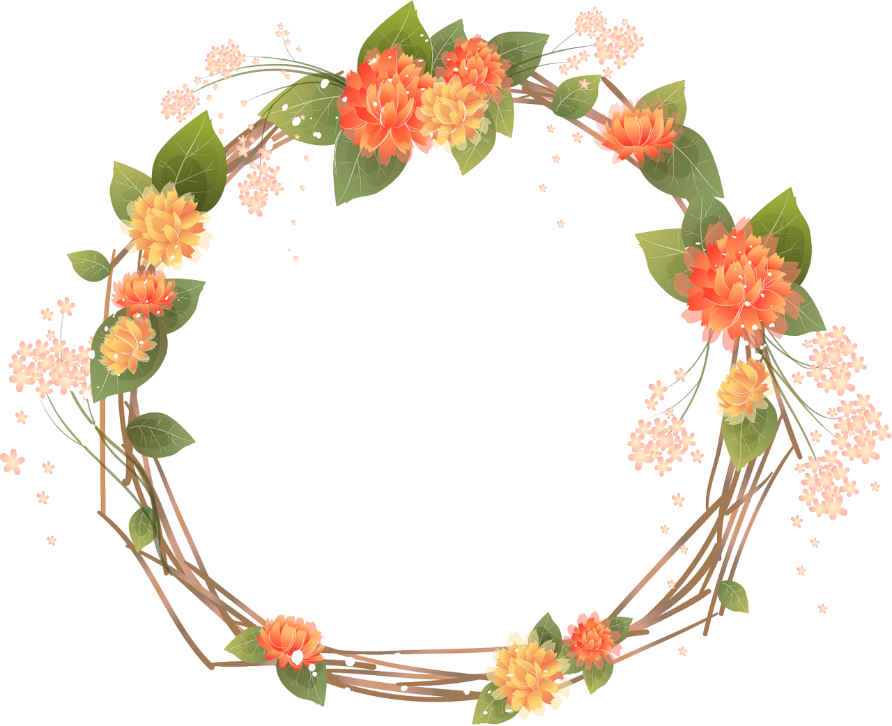 Flower wreath clipart png svg freeuse download orange frames transparent - Google Search | Frames | Pinterest ... svg freeuse download