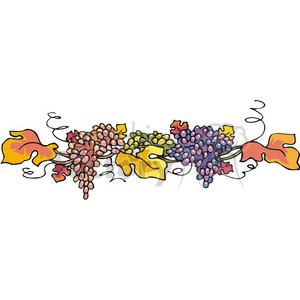 Fall garland clipart clip free download thanksgiving fall garland of grapes and leaves clipart. Royalty-free  clipart # 145487 clip free download