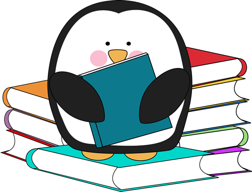 Fall in love with a good book clipart picture freeuse Penguin surrounded by books. Too cute, free clip art in color and ... picture freeuse