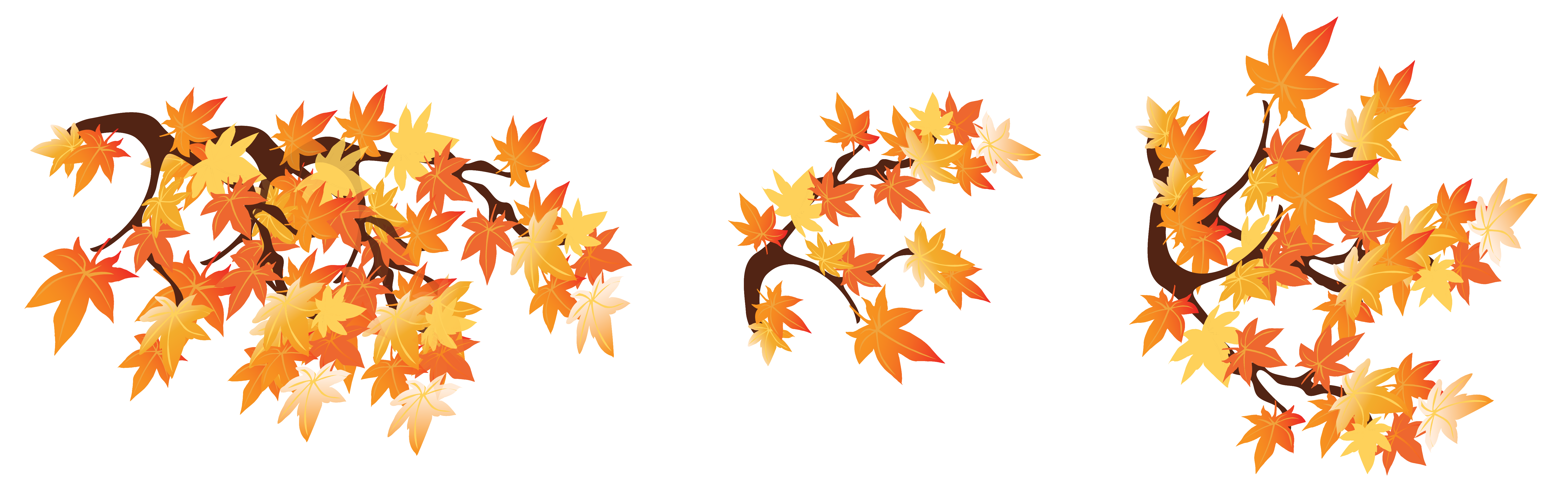 Fall tree branch clipart black and white download Autumn Branches with Leaves png Clipart Image | Gallery ... black and white download