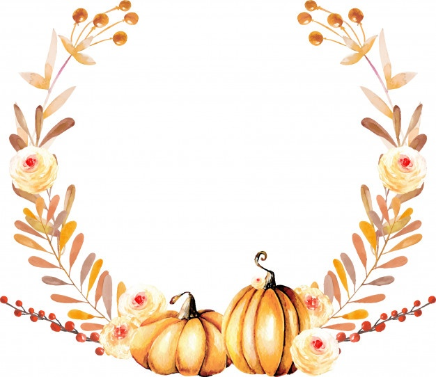 Fall watercolor clipart image download Autumn wreath with watercolor pumpkins and fall flowers Vector ... image download