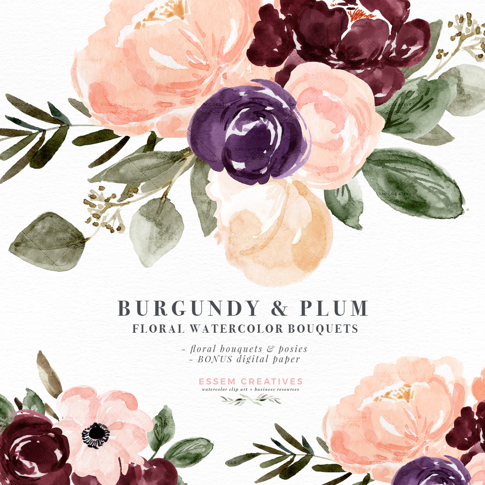 Fall watercolor clipart clipart black and white library Burgundy Plum Floral Watercolor Clipart, Blush Burgundy Watercolor Flowers,  Rustic Boho Fall Wedding Invitation clipart black and white library