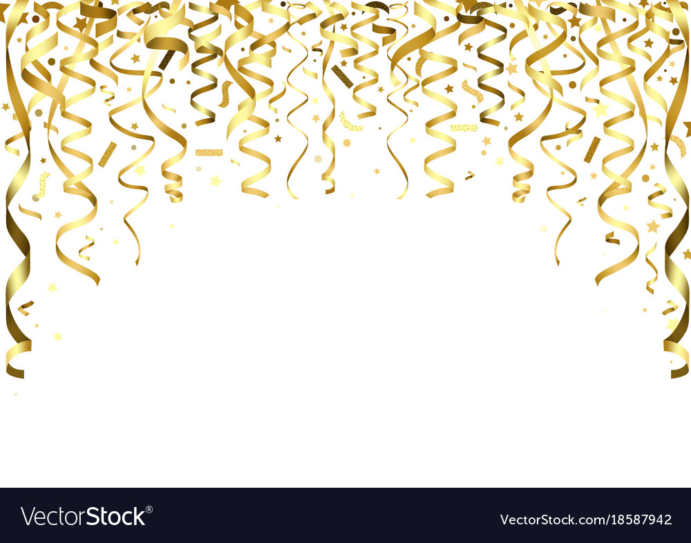 Falling confetti clipart image transparent library Golden falling confetti and ribbons image transparent library