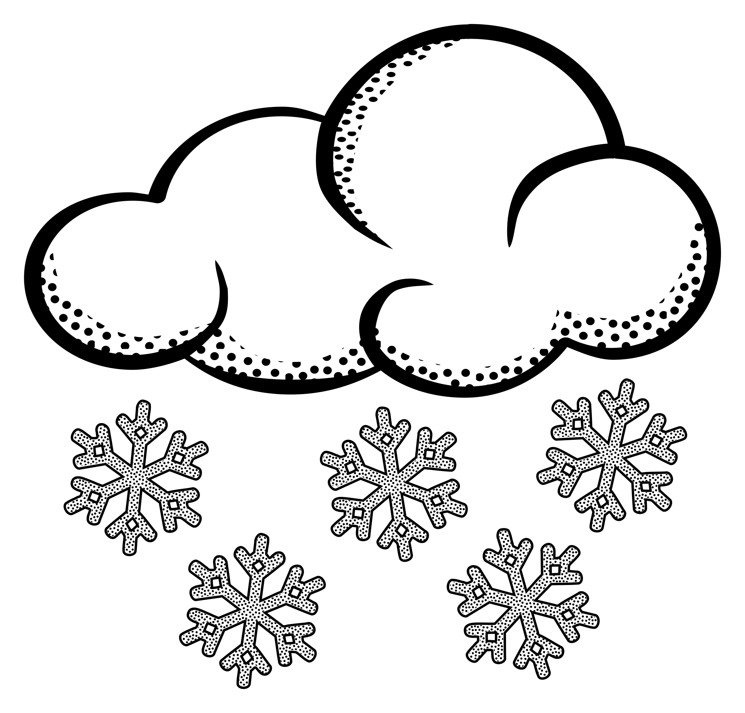 Snowflake cloud clipart clip free library 28+ Collection of Falling Snowflake Clipart Black And White | High ... clip free library