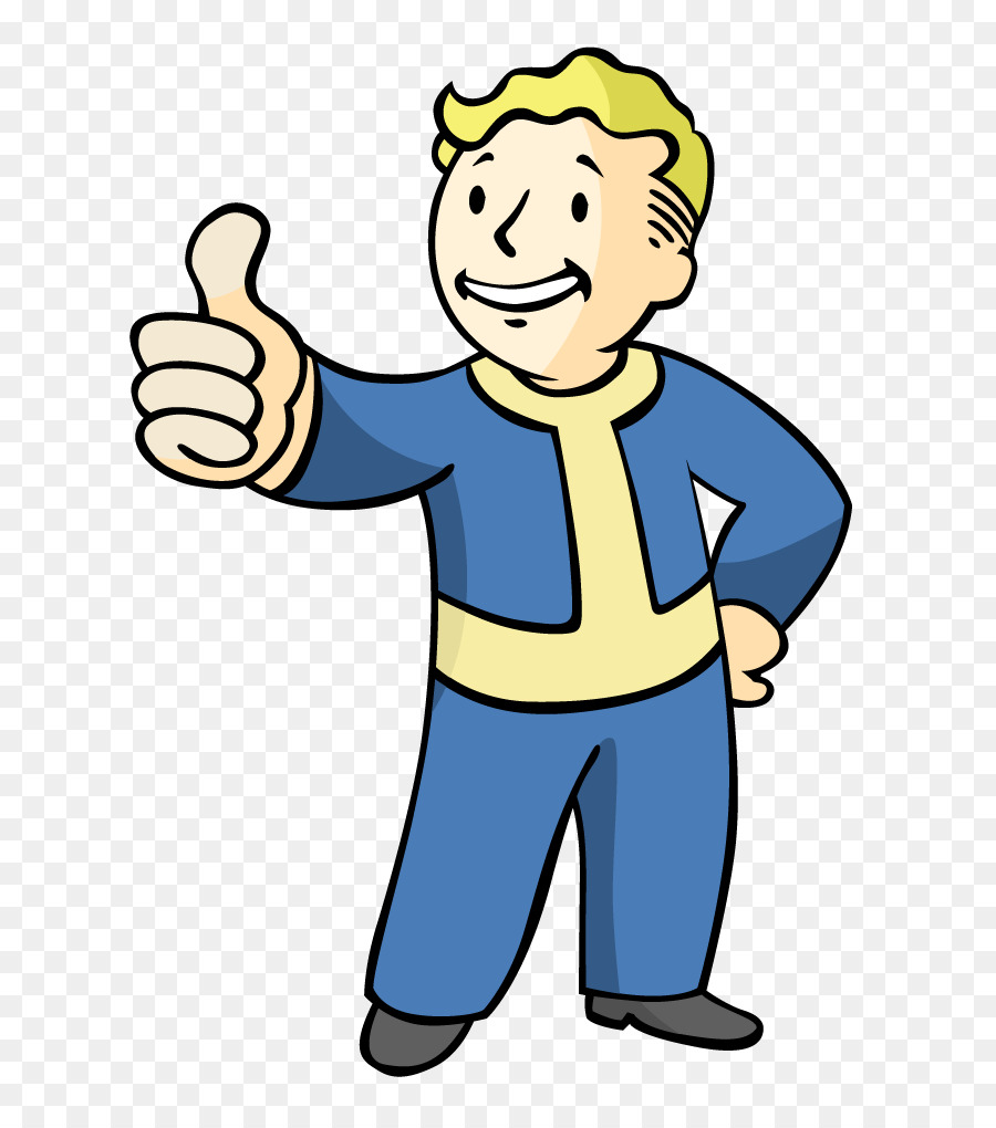 Fallout 4 clipart graphic Vault Boy clipart - Man, Finger, Yellow, transparent clip art graphic