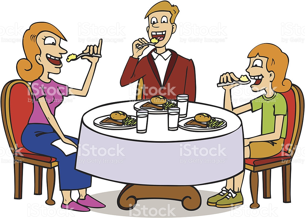 Familie beim essen clipart clip art free Familie Sitzen Am Tisch Essen Vektor Illustration 455454905 | iStock clip art free