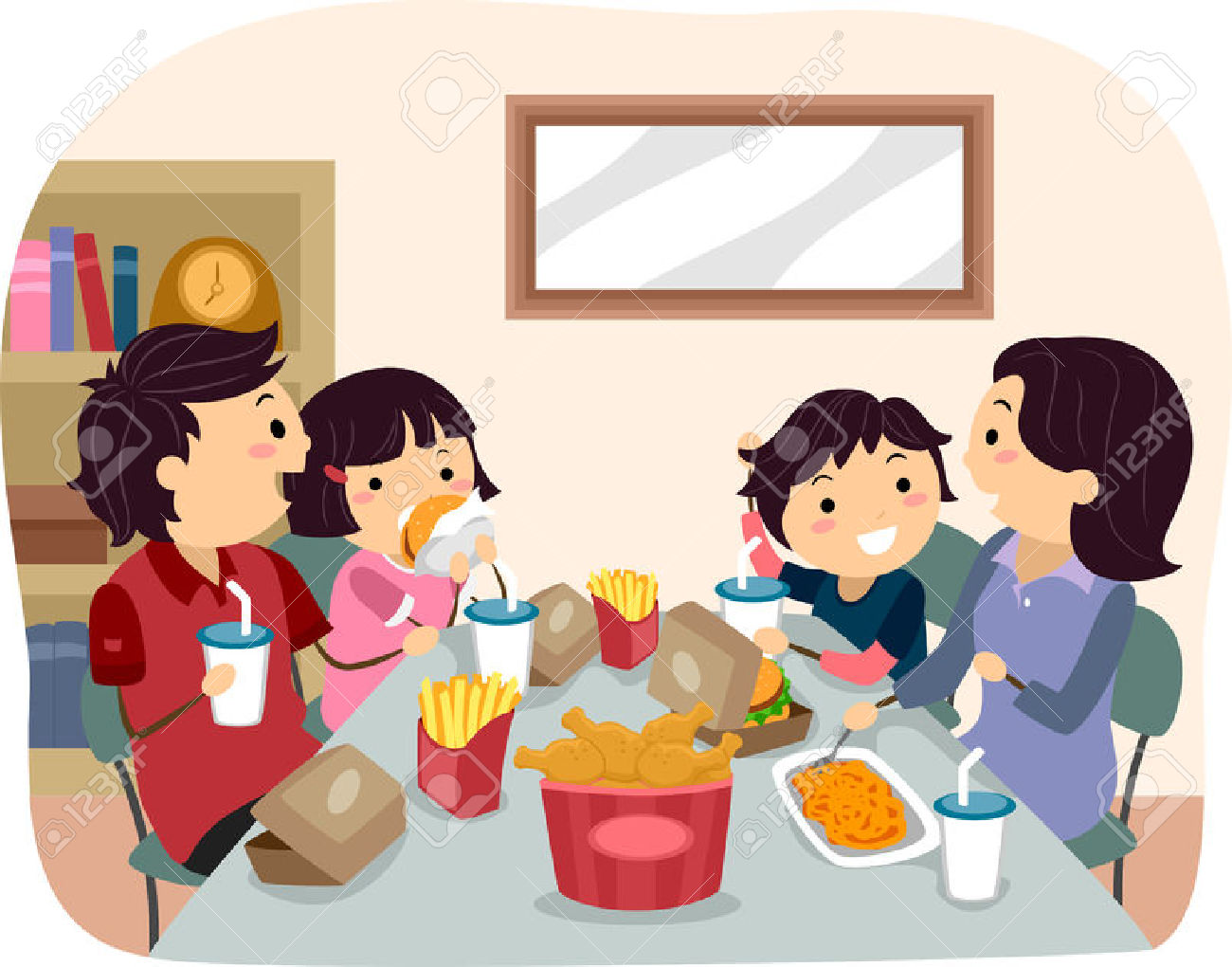Familie beim essen clipart banner royalty free download Illustration Einer Familie Essen Fastfood Für Abendessen ... banner royalty free download