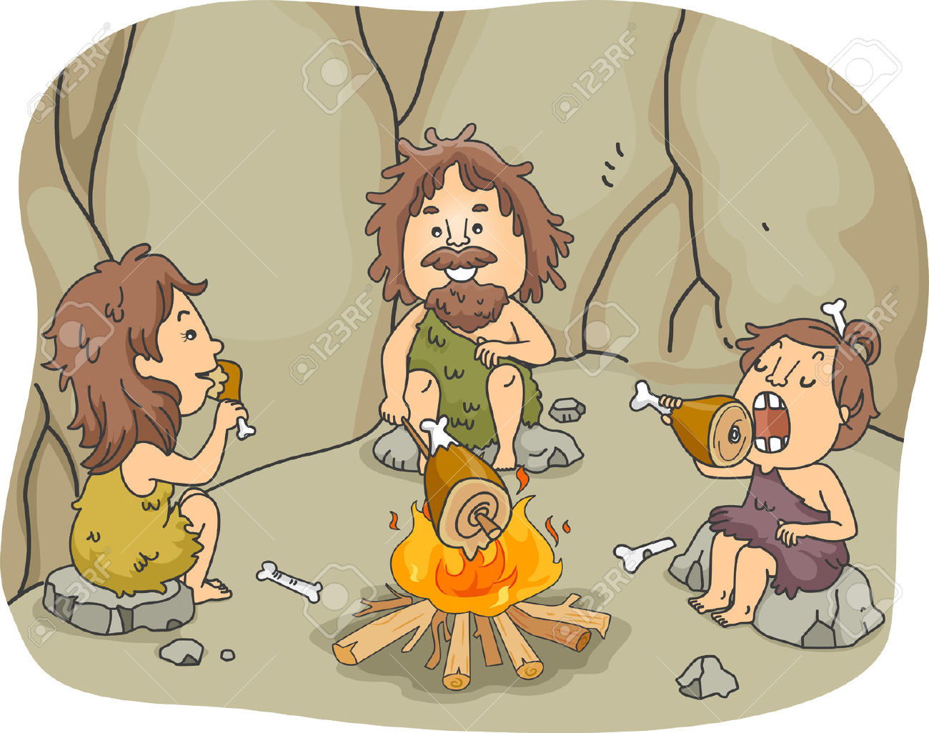 Familie beim essen clipart png royalty free download Illustration Eines Caveman Familie Essen Fleischstücke Zusammen ... png royalty free download