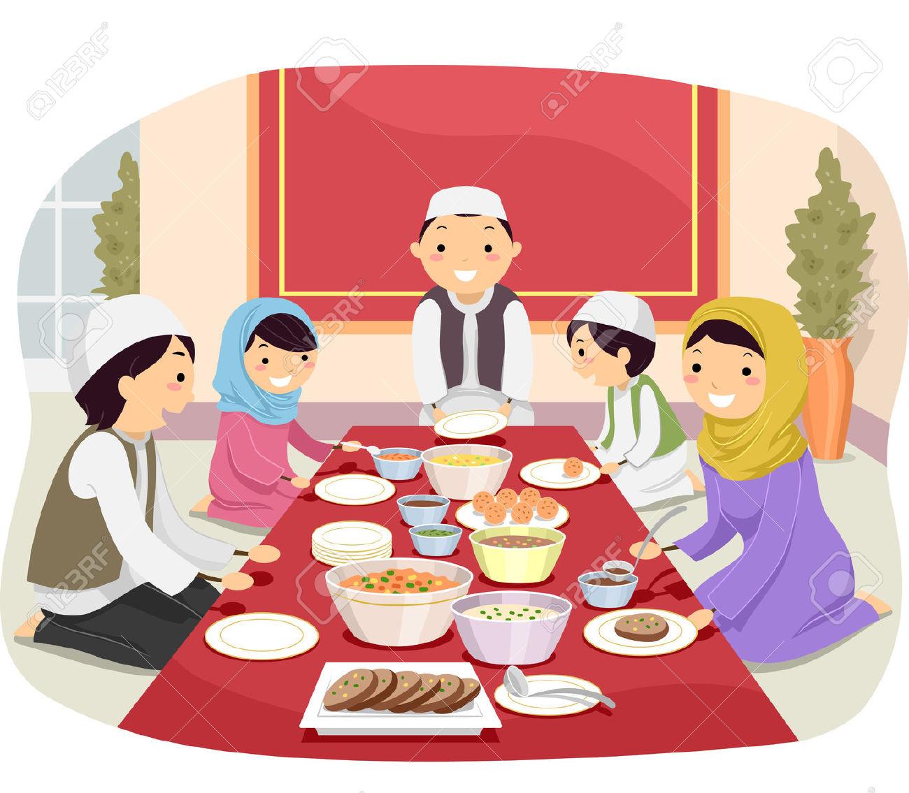 Familie beim essen clipart clip Stickman Illustration Einer Muslimischen Familie Essen Zusammen ... clip