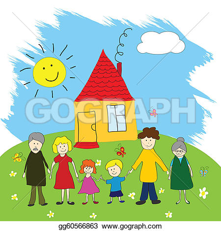 Familie haus clipart image royalty free library Family Clip Art - Royalty Free - GoGraph image royalty free library
