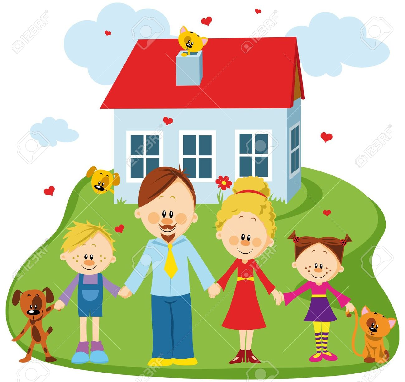 Familie haus clipart download Glückliche Familie Haus Lizenzfreie Vektorgrafiken Kaufen: 123RF download