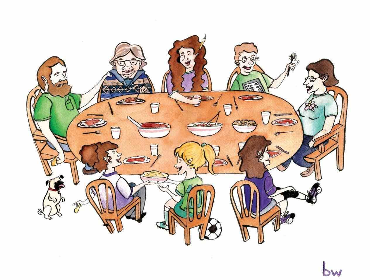 Family around a dinner table clipart image black and white stock Family dinner table clipart 6 » Clipart Station image black and white stock