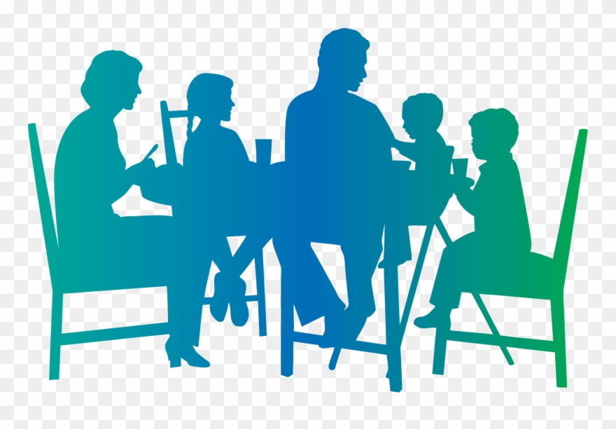Family around a dinner table clipart svg freeuse stock Family Around Dinner Table Clip Art - Family Dinner Table Silhouette ... svg freeuse stock