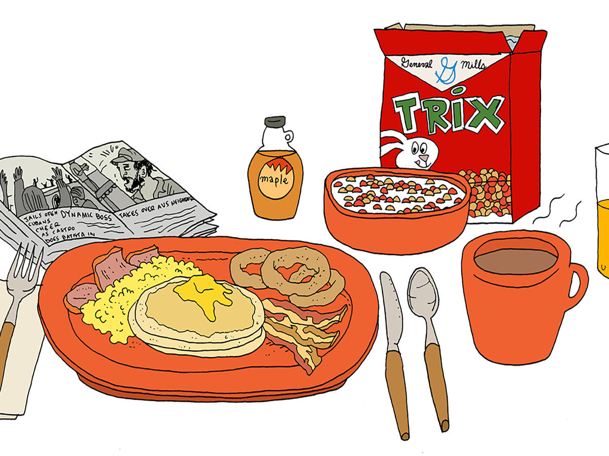 Family at dinner in the 80s clipart clip transparent download American Breakfast Through the Decades   Extra Crispy clip transparent download