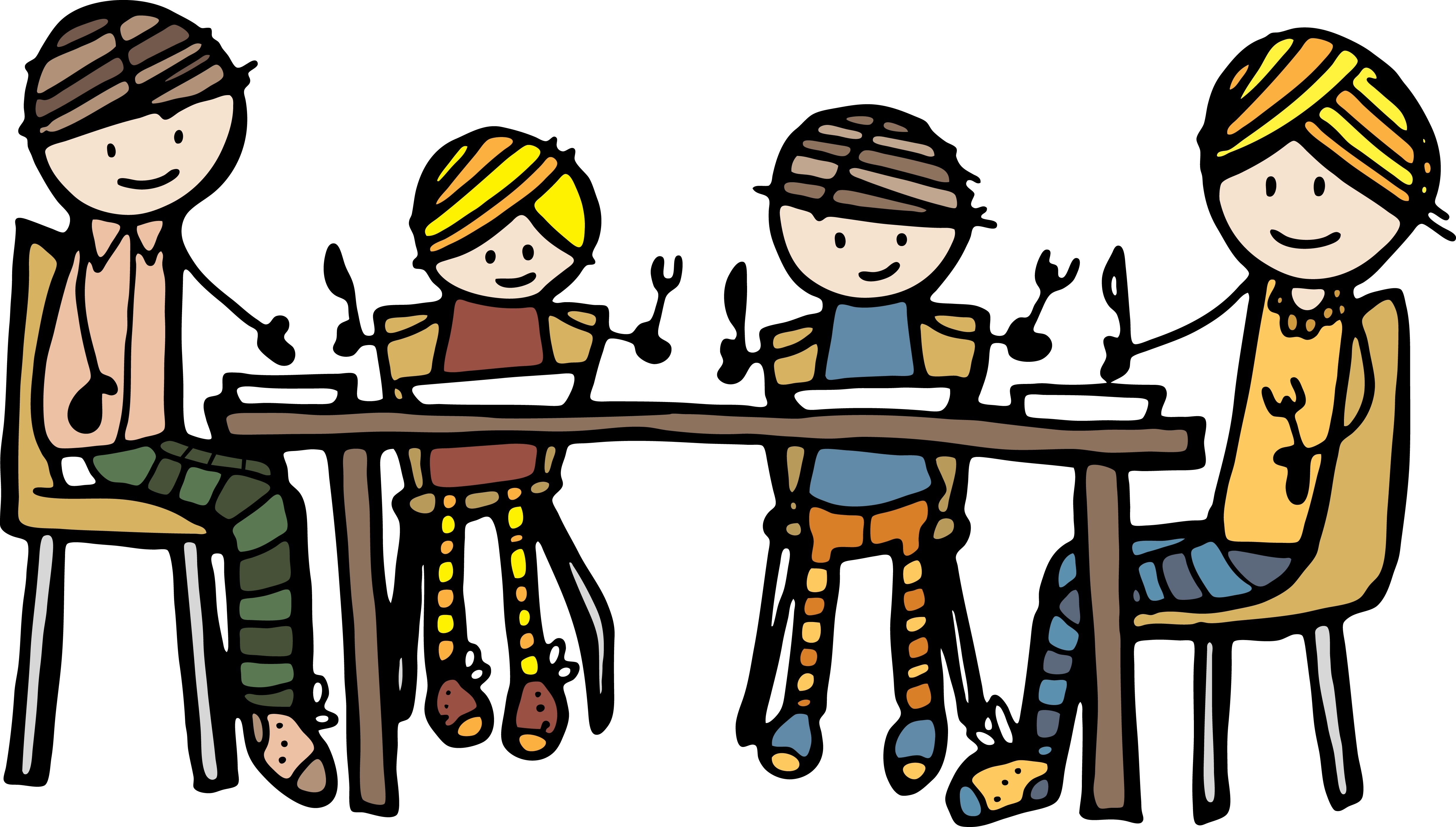 Family at table clipart vector black and white library Family Dinner At Table clipart free image vector black and white library