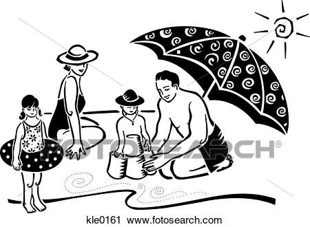 Family at the beach clipart black and white jpg free Free Beach Clipart drawing, Download Free Clip Art on Owips.com jpg free