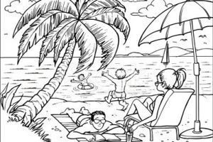 Family at the beach clipart black and white banner free Family at the beach clipart black and white » Clipart Portal banner free
