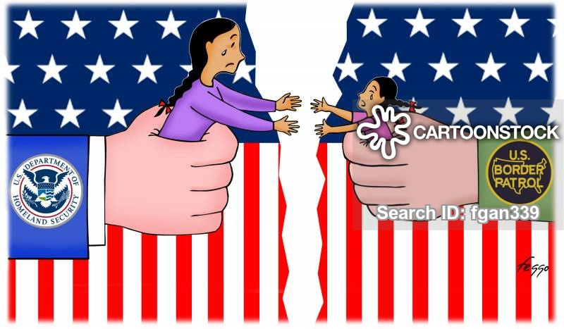 Family being seperated clipart black and white Families Separation News and Political Cartoons black and white