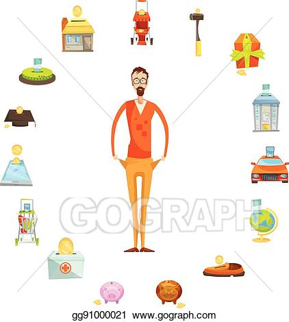 Family budget clipart clipart library Vector Art - Family budget round composition. Clipart Drawing ... clipart library