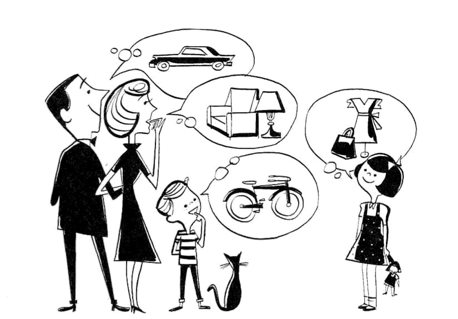 Family budget clipart vector black and white download Retro Clip Art - 50\'s Family - Wishes - The Graphics Fairy | Vintage ... vector black and white download