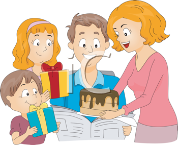 Family celebration clipart picture freeuse iCLIPART - Illustration of a Family Celebrating Father\'s Day ... picture freeuse