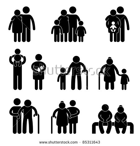 Family clipart 4 people 1 daughter 1 son black and white clip library Family Illustration Stock Images, Royalty-Free Images & Vectors ... clip library