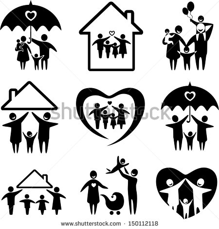 Family clipart 4 people 1 daughter 1 son black and white png freeuse download Family Silhouette Stock Images, Royalty-Free Images & Vectors ... png freeuse download