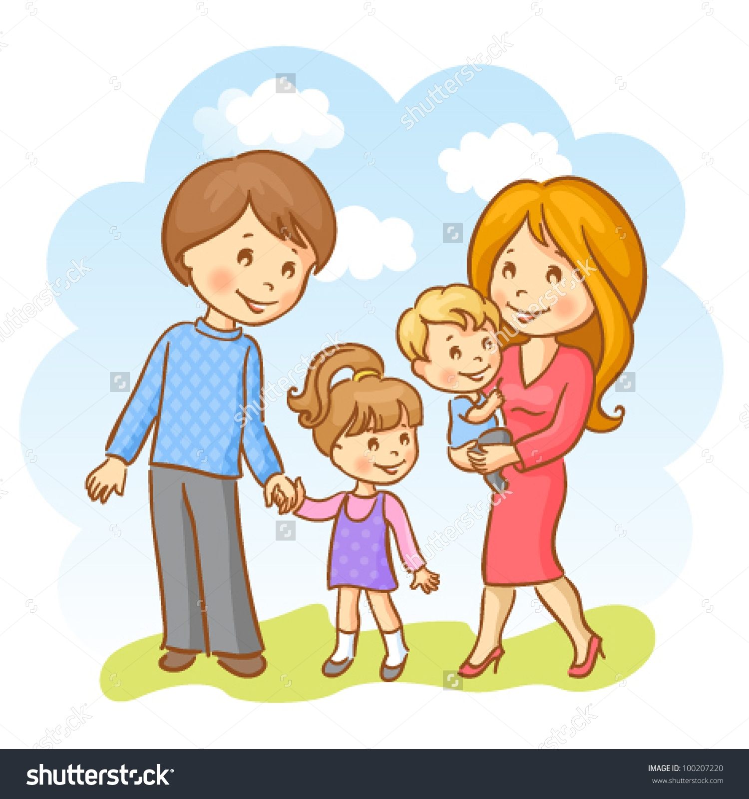 Family clipart 5 people 2 daughters 1 son picture transparent library Image Gallery of Family Clipart 4 People 2 Daughters picture transparent library